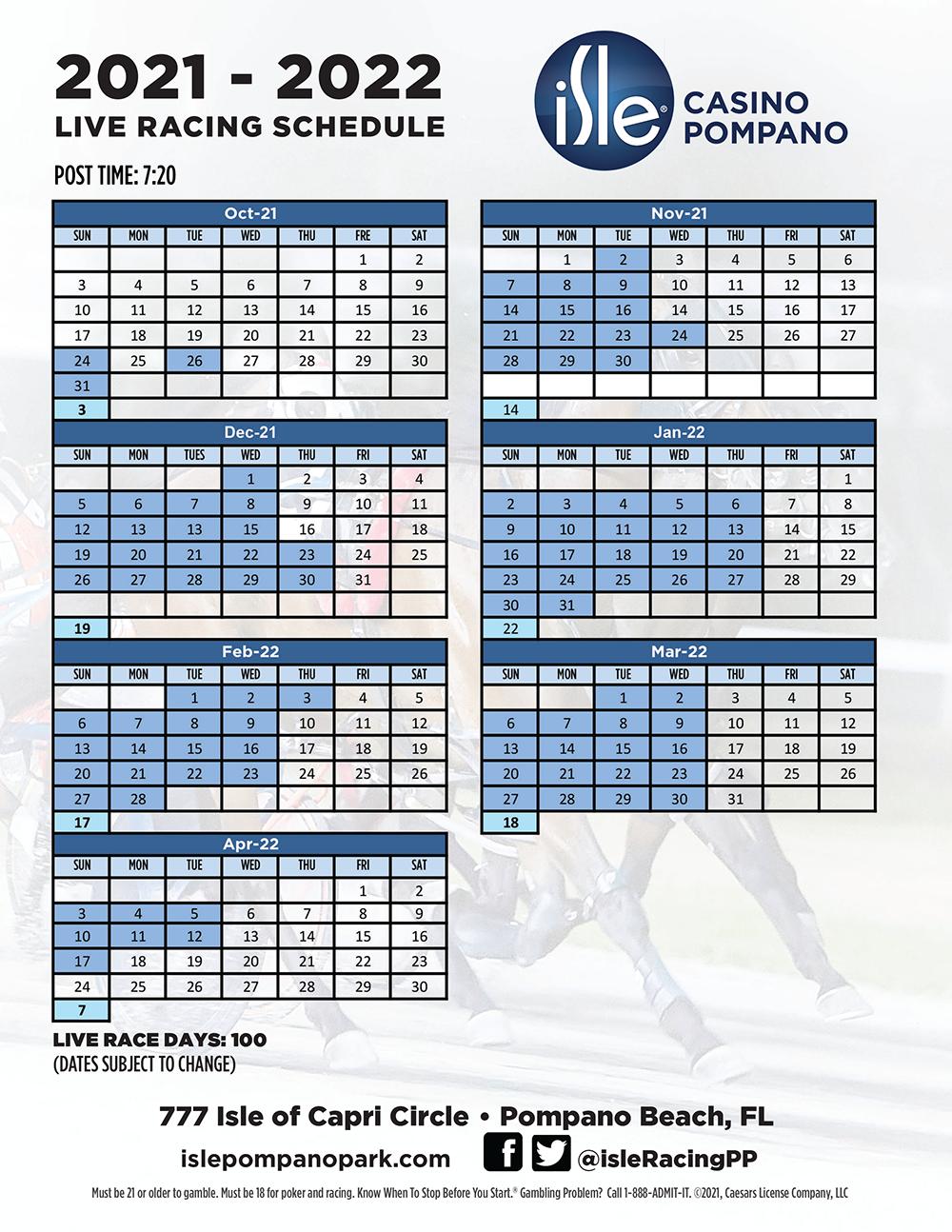 Live Racing Schedule 2021 - 2022