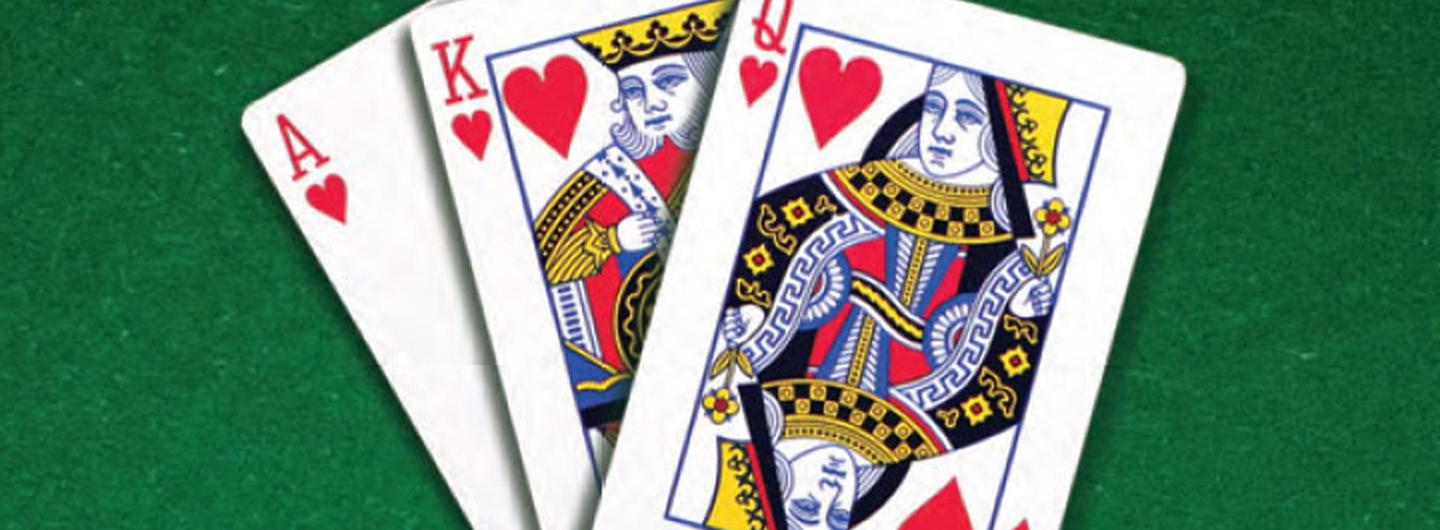 An ace, king and queen of hearts