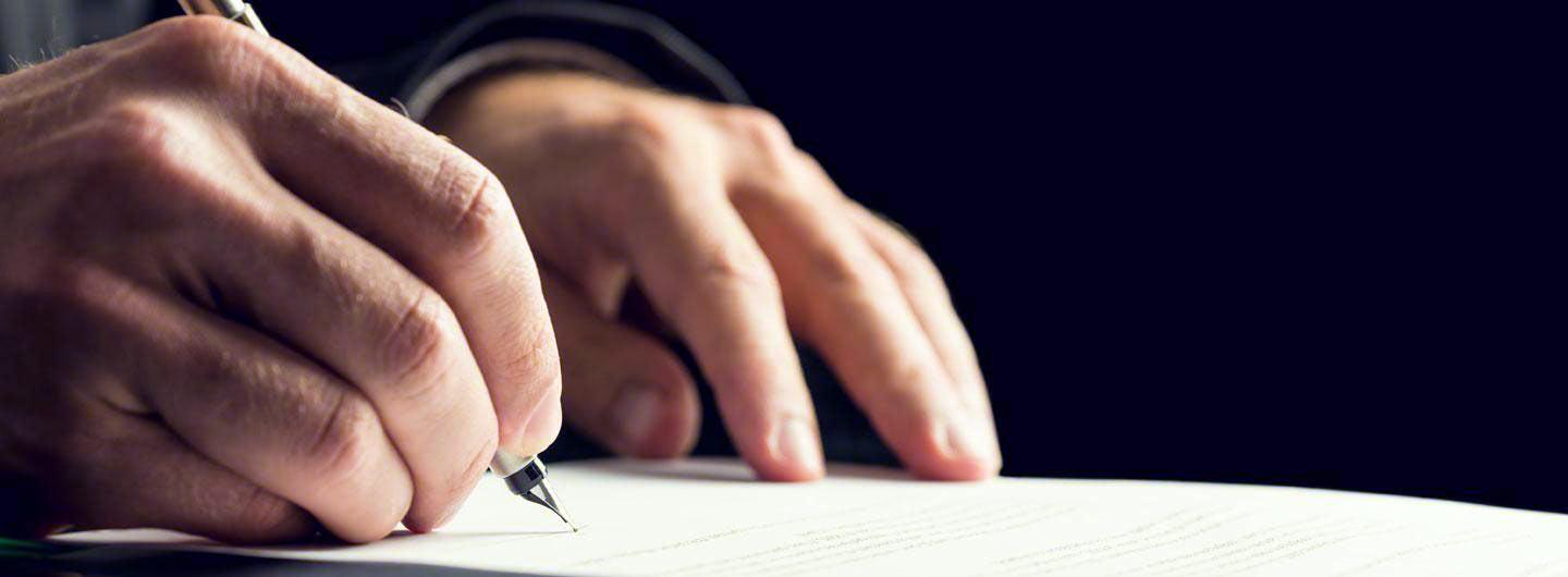 A man writing a letter