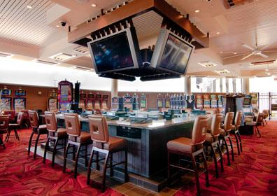 Photo of the Gaming Pavilion's centralized bar and Keno bar tops at Eldorado Scioto Downs