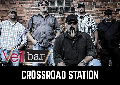 Advertisement for Live Entertainment at The Veil Bar featuring Crossroad Station