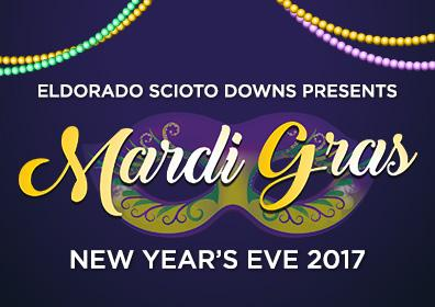 Advertisement for Mardi Gras New Year's Eve 2017 at Eldorado Gaming Scioto Downs