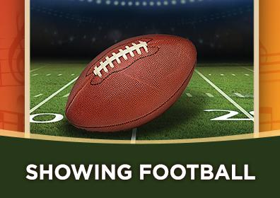 """Image with a football on a field that says """"Showing Football"""""""