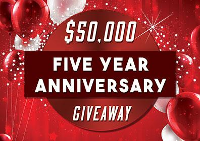 Advertisement for $50,000 Five Year Anniversary Giveaway at Eldorado Gaming Scioto Downs