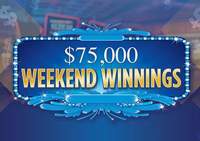 Advertisement for $75,000 Weekend Winnings Giveaway at Eldorado Scioto Downs