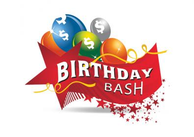 Graphic design photo featuring white background with birthday bash logo