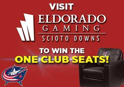 Advertisement for CBJ ONE Club Seats at Eldorado Scioto Downs