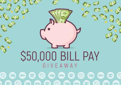 Advertisement for $50,000 Bill Pay Giveaway at Eldorado Scioto Downs