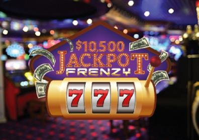 Graphic design photo featuring 777 reel that reads $10,500 jackpot frenzy