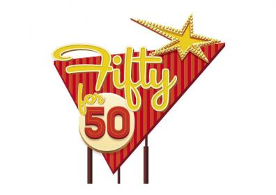 Graphic design photo featuring retro fifty for 50 logo, red and yellow