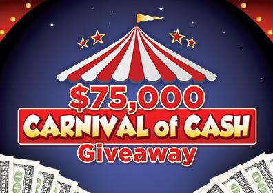 Advertisement for $75,000 Carnival of Cash Giveaway at Eldorado Scioto Downs