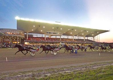 Looking towards the stands at sunset during a live harness race at Scioto Downs