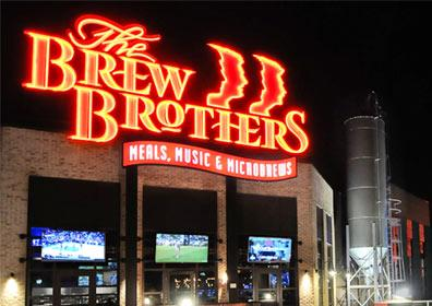 Exterior view of The Brew Brothers and the front of Scioto Downs