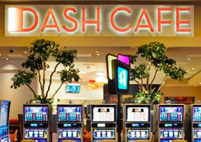 Looking towards the Dash Café with slot machines under the sign