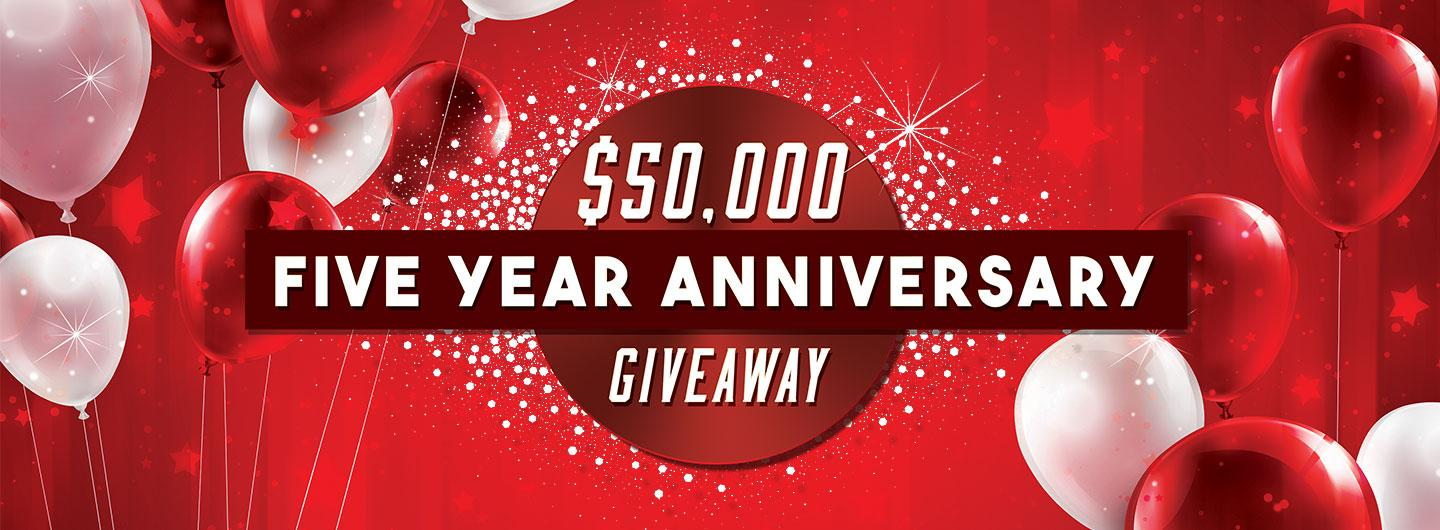 Advertisement for the $50,000 Five Year Anniversary Giveaway at Eldorado Gaming Scioto Downs