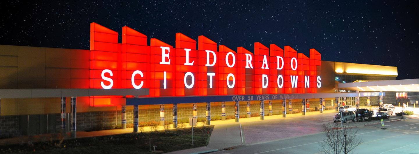 Exterior view of Scioto Downs with Red Lights