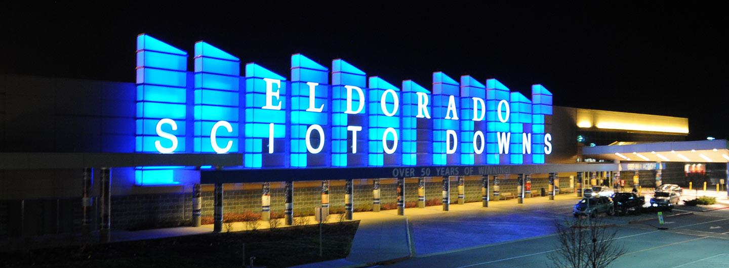 An exterior view of Scioto Downs at night
