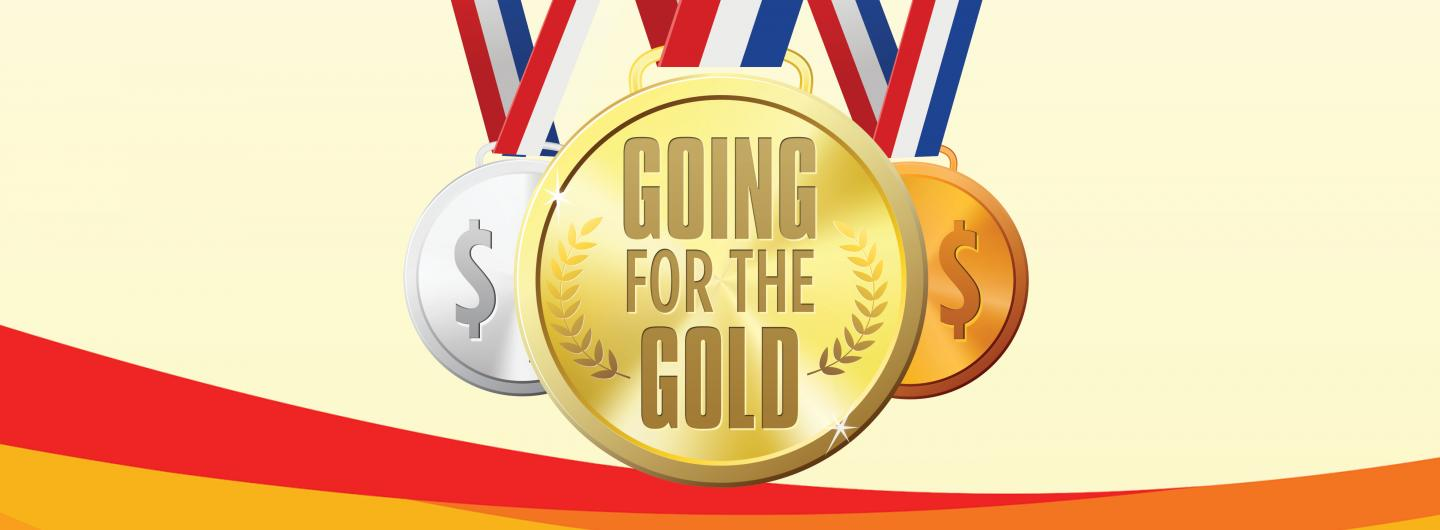 Gold, Silver and Bronze Medals saying Going for the Gold