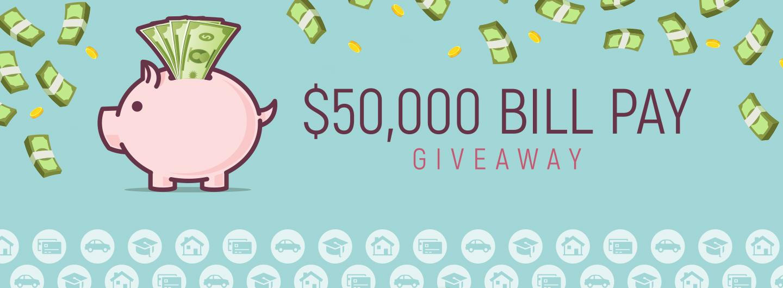 Advertisement for $50,000 Bill Pay Giveaway at Eldorado Scioto Downs