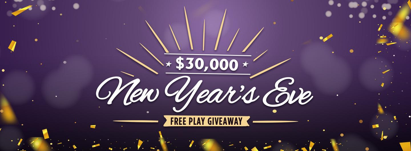 Advertisement for the $30,000 New Year's Eve Free Play Giveaway Rules at Eldorado Scioto Downs