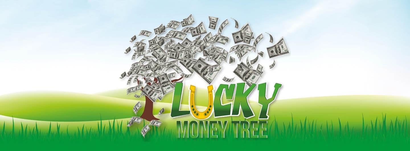 """Graphic Design photo featuring a money tree reading """"Lucky Money Tree"""""""