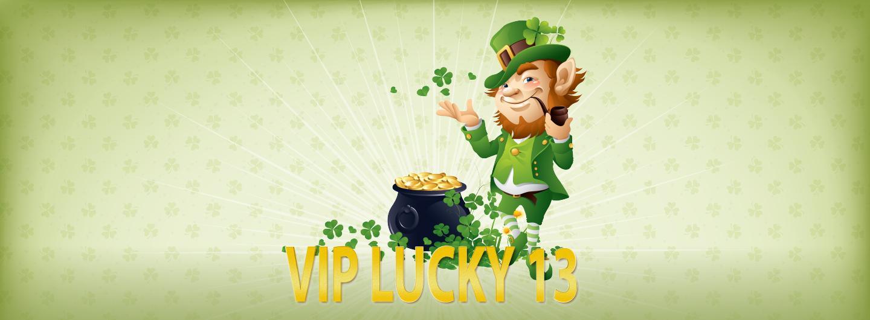 "Graphic Design photo featuring a leprechaun reading ""VIP Lucky 13"""