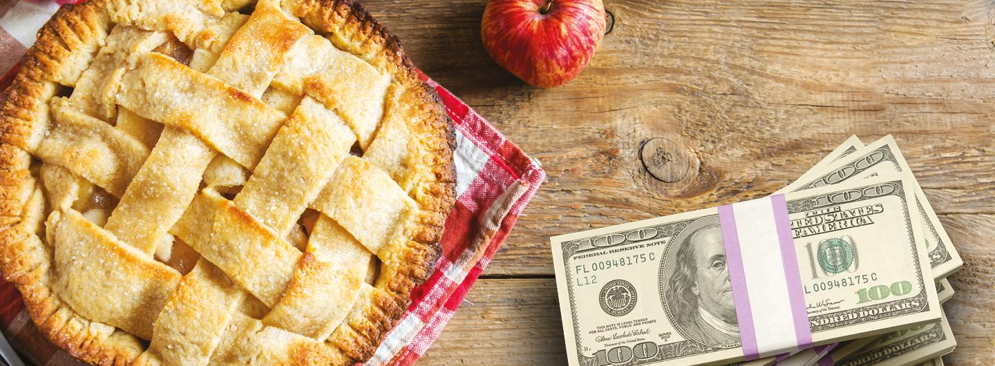 Graphic Design photo featuring a pie, an apple and money