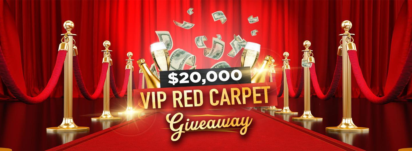 """Graphic Design photo featuring a red carpet and flying money reading """"$20,000 VIP Red Carpet Giveaway"""""""