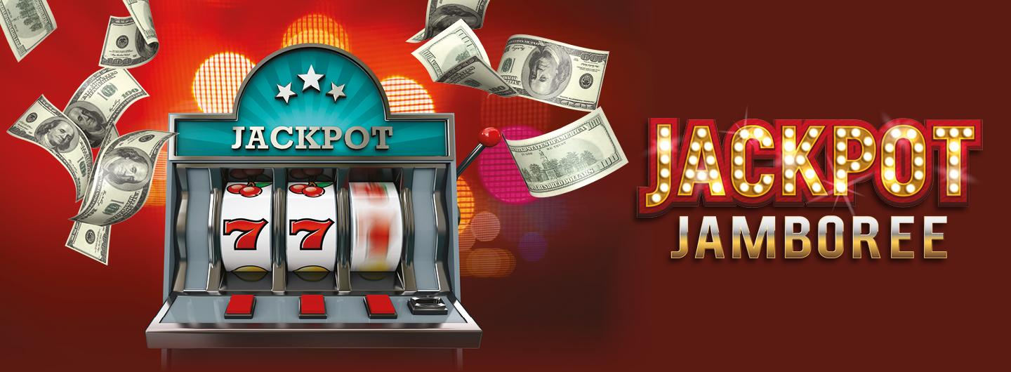 Graphic design photo featuring slot machine on red background that says Jackpot Jamboree