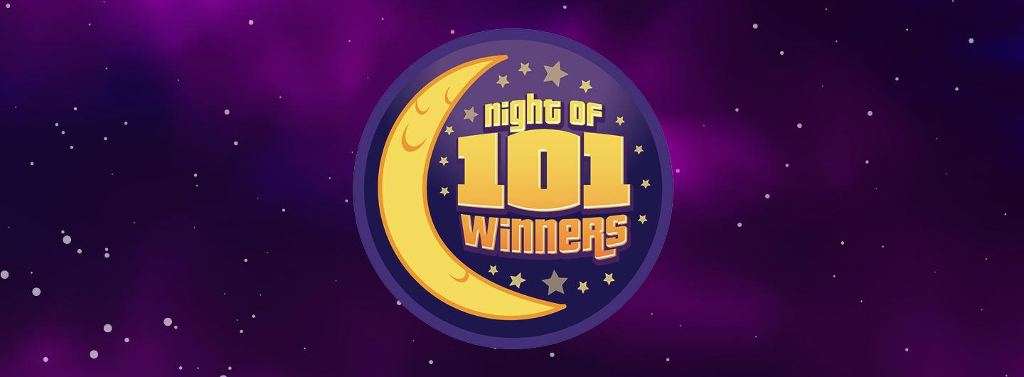 """Graphic Design photo featuring a moon and stars that read """"Night of 101 Winners"""""""