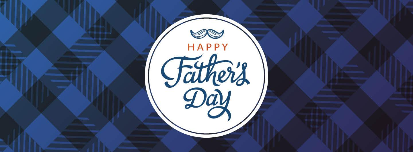 Graphic design photo featuring blue plaid background with centered logo