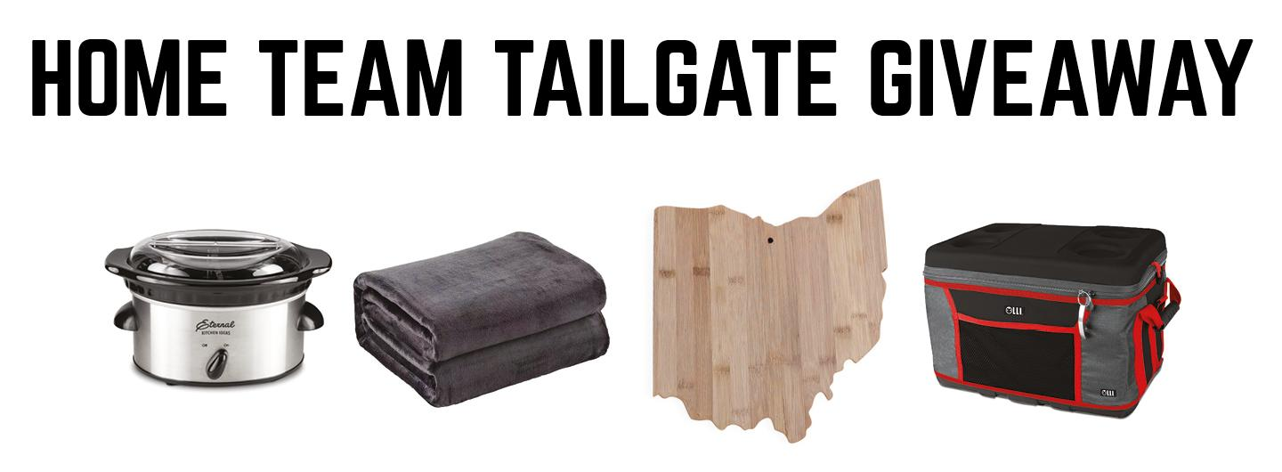 Graphic design photo featuring tailgate theme giveaway items