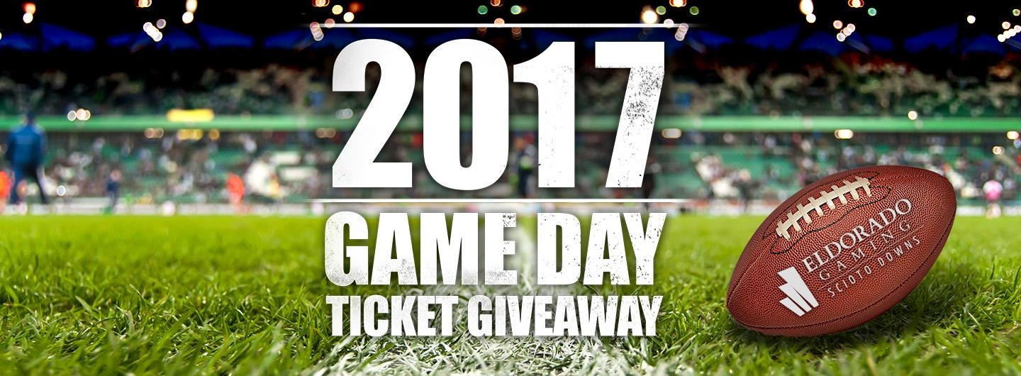 Advertisement for Game Day Ticket Giveaway at Eldorado Scioto Downs