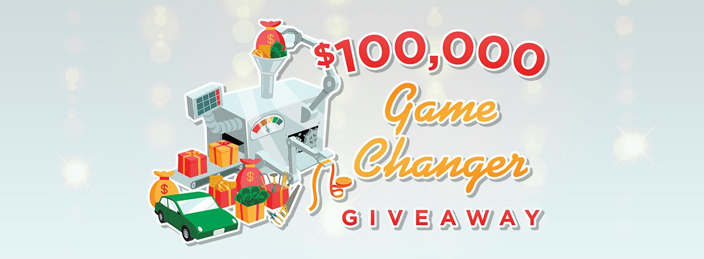 Advertisement for $100,000 Game Changer Giveaway at Eldorado Gaming Scioto Downs