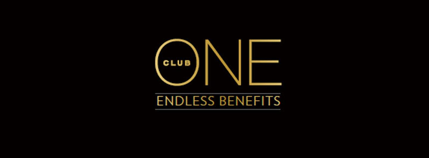 The logo for ONE Club with the text endless benefits below it