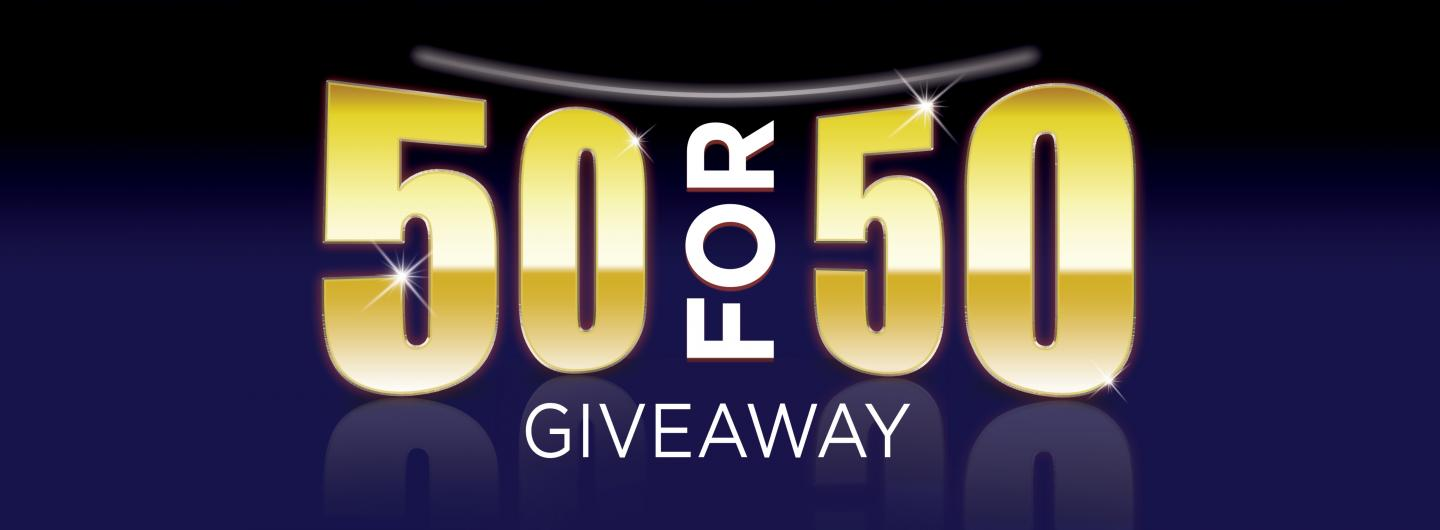 50 for 50 Giveaway with blue background