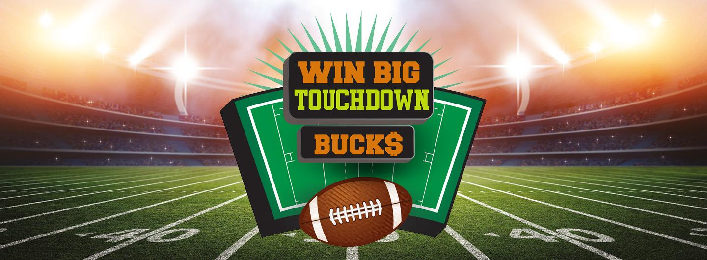 Graphic design photo featuring football field background with touchdown logo in center