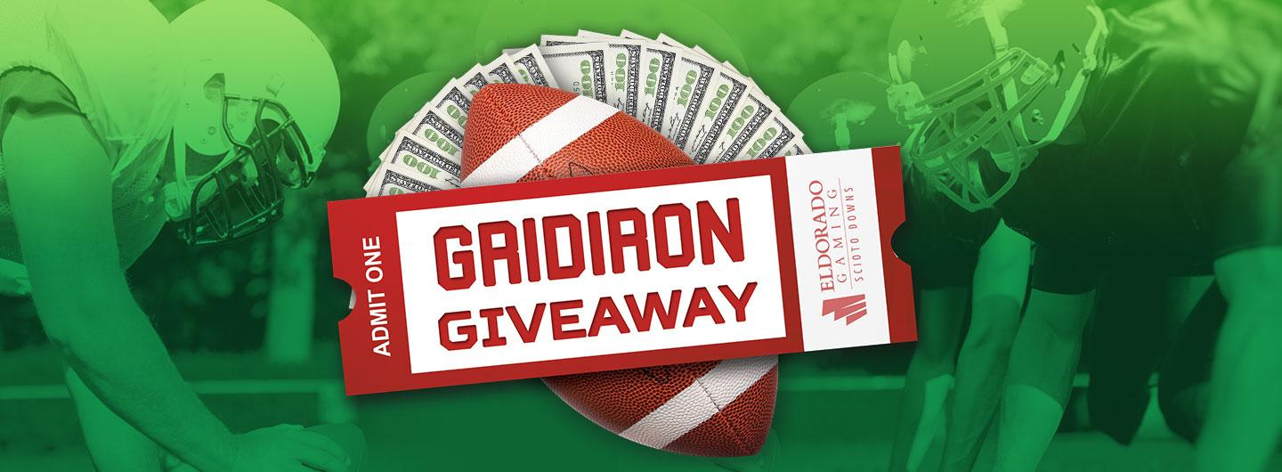 Advertisement for Gridiron Giveaway at Eldorado Scioto Downs