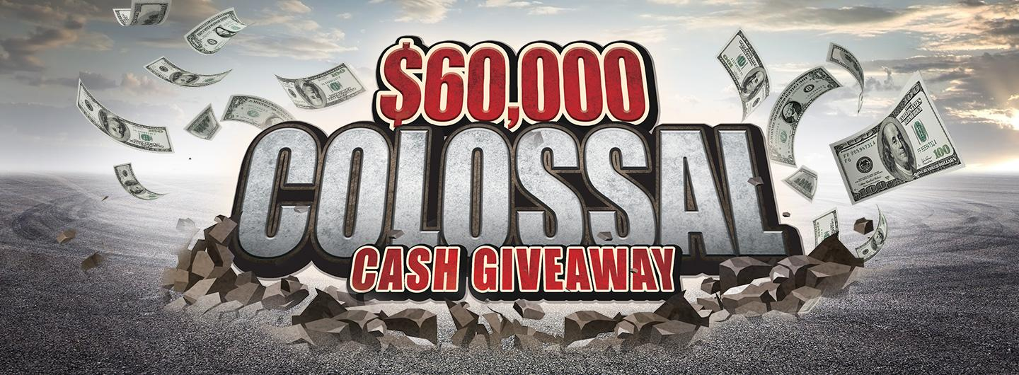 Advertisement for $60,000 Colossal Cash Giveaway at Eldorado Scioto Downs
