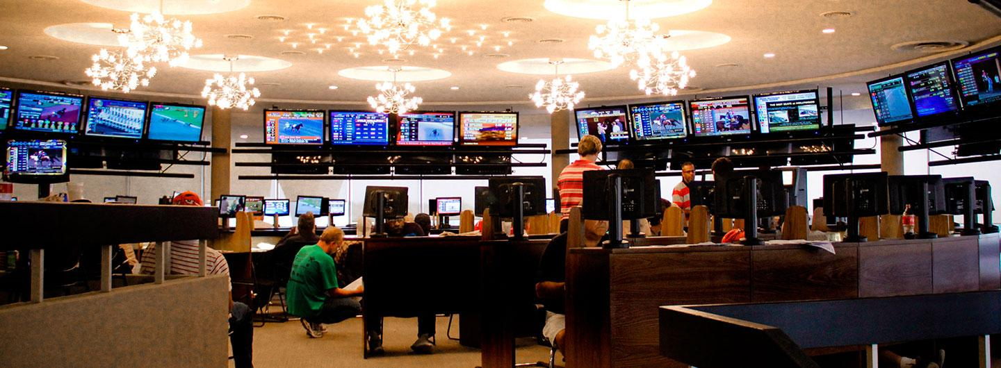 Looking towards the live wagering area at the Penthouse