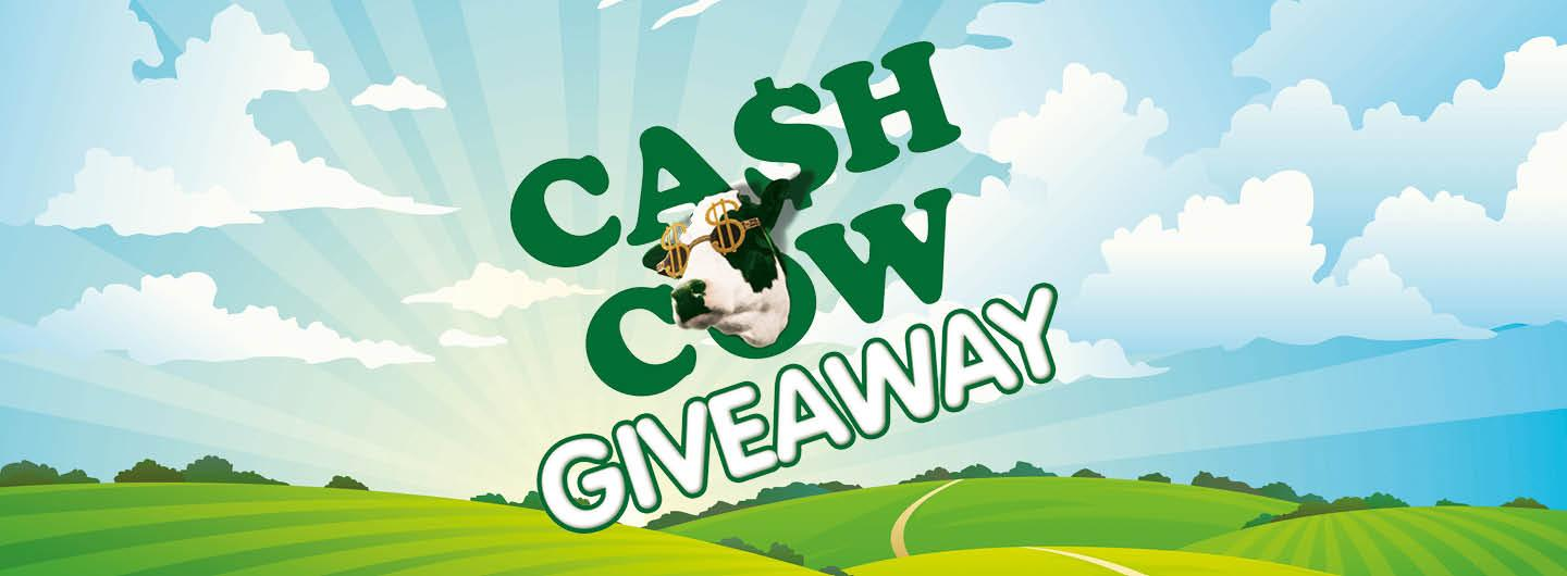 "Graphic Design photo featuring a cow with reading ""Cash Cow Giveaway"""