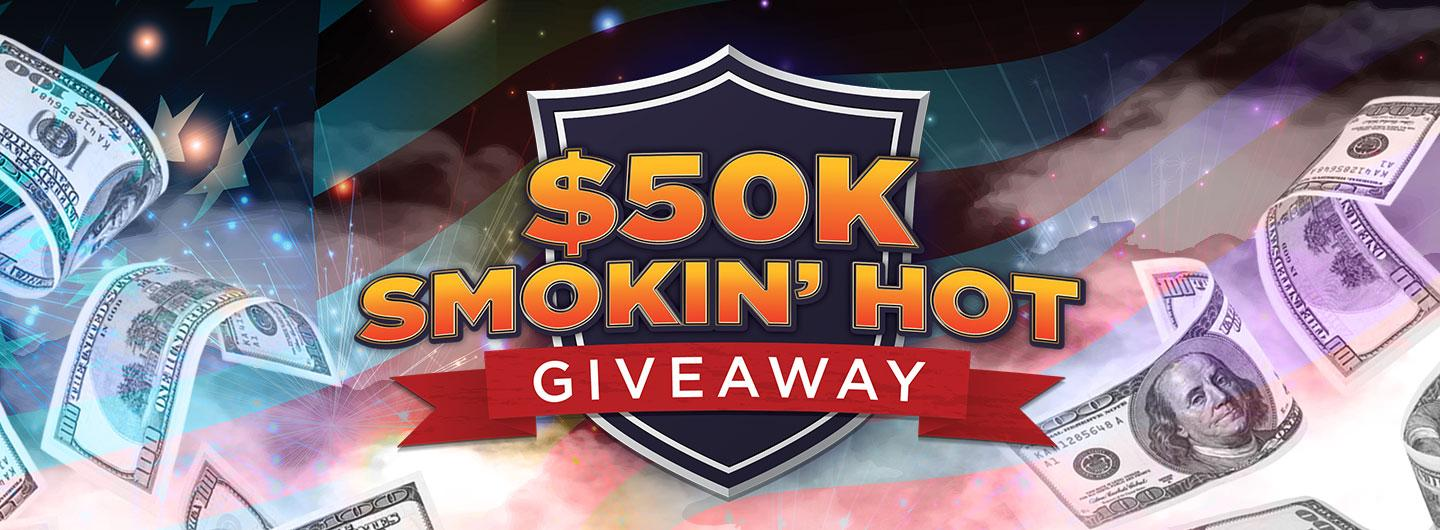Advertisement for $50K Smokin' Hot Giveaway at Eldorado Gaming Scioto Downs