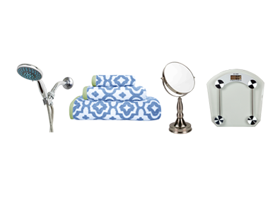 shower head, towel set, vanity mirror, and weight scale