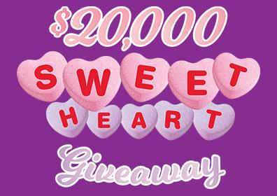 $20,000 sweetheart giveaway logo