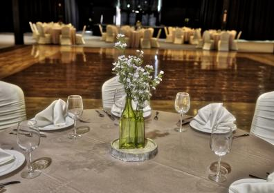 decorated table with floral centerpiece