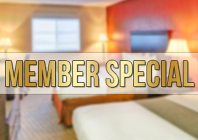 image of a hotel room with the words member special