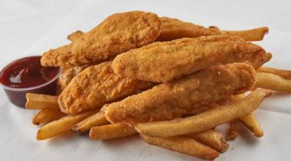 chicken tenders and fries with sauce