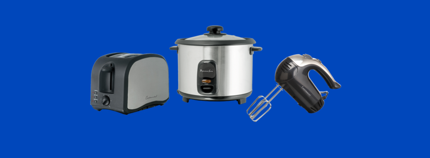 toaster, slow cooker, and hand mixer