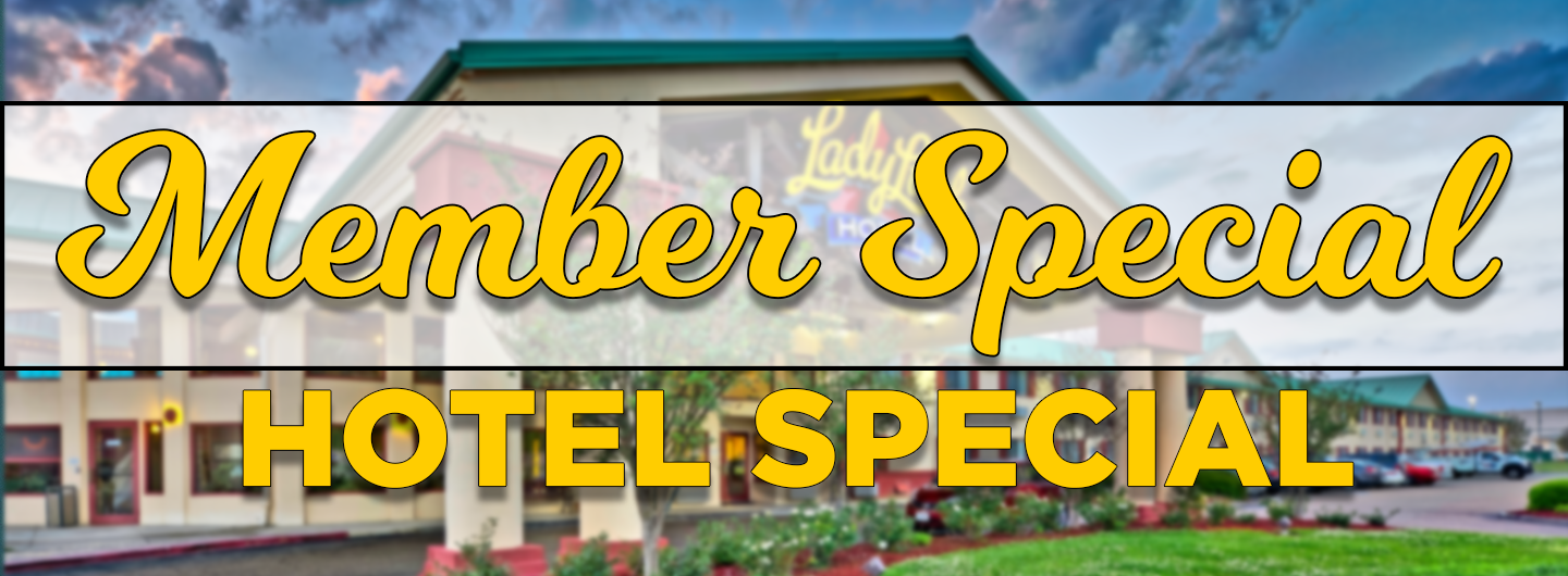 image of the exterior of the hotel with the words member special and hotel special