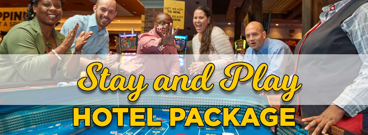 """vpeople playing craps with the words """"stay and play hotel package"""""""